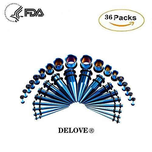DELOVE Verlängerungsset Für Ohranpassungen, 36-Teiliges Set Acryl Plugs Edelstahlkonus-Set 14G-00G Ohrdehnungs-Piercing-Set,Blue (4 Gauge Verjüngt)