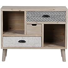 VIVA HOME Cajonera de madera, 80 x 35 x 65 cm, Mueble aparador para salón o comedor, con 3 cajones diferentes, Color claro
