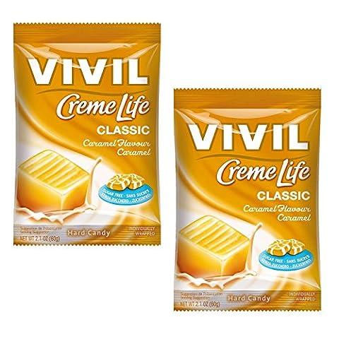Caramel Creme - Vivil Creme Life Hard Candy Sugar Free Sweets 60g - Pack of 2