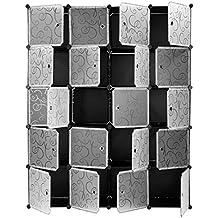 Finether-Armario Modular(Organizador Rizado Estampado de 20 Cubos, Sistema de de Estanterías de Escaparate con Translucidas Puertas Blancas para el Hogar Ropa, Juguetes, Chismes)Negro