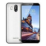 HOMTOM S16 Smartphones Débloqué Android 7.0, Écran 5,5 Pouces(18:9), 13MP+2MP Double Caméra Arrière, 2 Go RAM+16 Go ROM, Double SIM, MTK6580 Quad Core, Batterie 3000mAh, 3G Empreinte Digitale Téléphones Portables pas cher (Blanc)