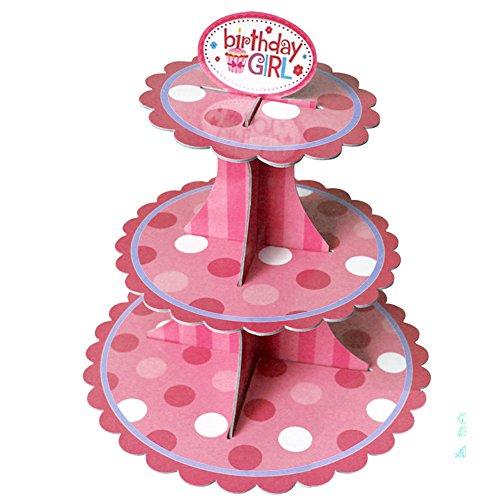 3-Schichtige Karton Faltbarer Kinder Kinder Geburtstag Party Kuchen Cupcake Dessert Display Platter Papierhalter Stehen für Girl Pink (Pink Cake Pop-ständer)