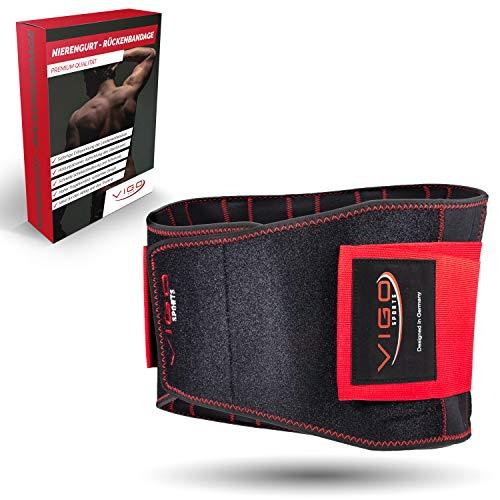 Vigo Sports® Rückenbandage - atmungsaktiv & individuell verstallbar zur Linderung und Vorbeugung von Rückenbeschwerden Nierengurt für deinen Lendenwirbel - Anti Hohlkreuz Rücken - (XL)