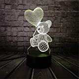 3D Usb llevó la luz de la noche de la lámpara de mesa, bebé oso de...