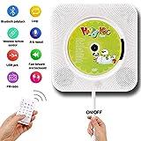 CD Player Bluetooth, wandmontierbar Bluetooth eingebaute HiFi-Lautsprecher für Kinder, die Heim-Audio-Boombox mit Fernbedienung, FM-Radio, USB mp3 Kopfhöreranschluss, Power an oder aus mit Zugschalter