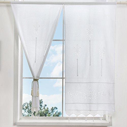 ZHH 1 par de cortinas, ahueca hacia fuera Floral algodón natural Crochet Tape Top cortinas blancas 70 x 150 cm