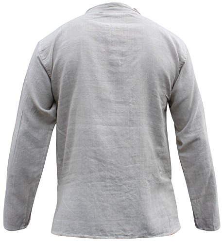 Shopoholic Fashion Unisex hellgrau Hanf Baumwolle Hippy Großvater Shirt Hellgrau