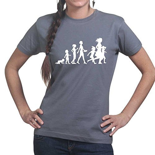 Evolution of Mother (Mom, Mum) Day Birthday Gift Ladies T Shirt (Tee, Top) Charcoal Grey