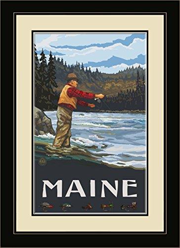 Northwest Art Mall pal-1271mfgdm ffsh Maine Fly Fisherman Stream Hills gerahmtes Wandbild Art von Künstler Paul A. lanquist, 13von 40,6cm