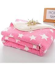 BRANDONN Fleece Star Polka Wrapping Sheet Blanket for Newbo