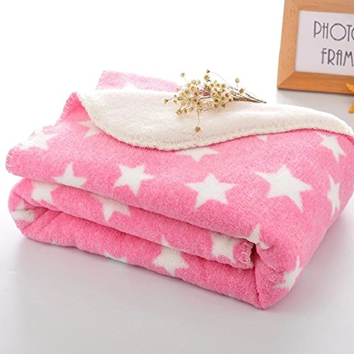 BRANDONN Fleece Star Polka Wrapping Sheet/ Blanket for Newborn Babies (Pink, 75x98cm)
