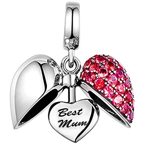 Charm a forma di cuore con cristalli, in argento sterling 925, compatibile con la maggior parte dei braccialetti da donna in stile europeo e argento, colore: red, cod. mm-s050bm-rd