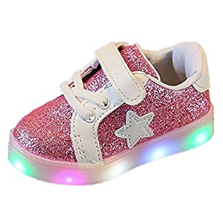 FNKDOR 1-6 Jahre Unisex Baby Junge Mädchen LED Licht Mode Star Sneaker Kinder Kleinkind Schuhe (22 Fußlänge:13.5CM, Rosa)