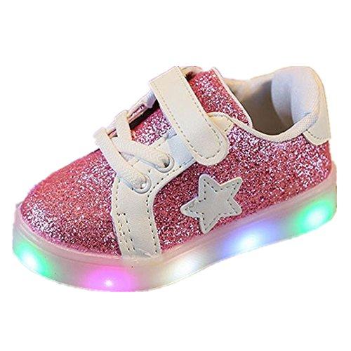 FNKDOR 1-6 Jahre Unisex Baby Junge Mädchen LED Licht Mode Star Sneaker Kinder Kleinkind Schuhe (22 Fußlänge:13.5CM, Rosa) (Kleinkind Schuhe Häkeln)