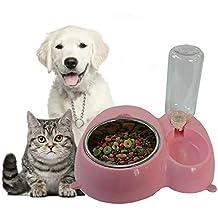 Artículos para mascotas perro gato tazón de acero inoxidable plato de comida de perro plato de comida cuenco de agua de la taza de agua automático plato de comida de doble recipiente para perros