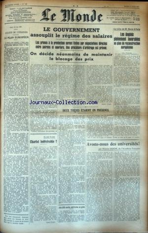 MONDE (LE) [No 742] du 17/06/1947 - LE PLAN EUROPE...