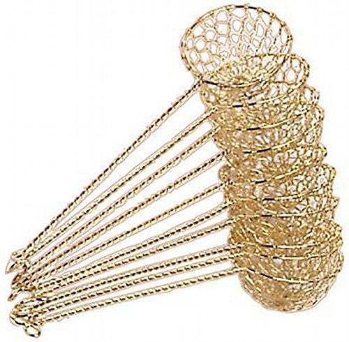 10x FONDUE-SIEB GOLD - Ideal für Feuertopf Mongolentopf