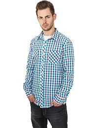 Urban Classics Tricolor Big Men Checked Shirt TB414 , color:purple/white/turquoise;size:L