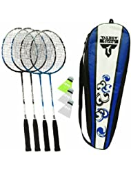 Talbot Torro 4-Attacker Set Set de badminton 4 raquettes, 3 volants, filet et poteaux bleu marine