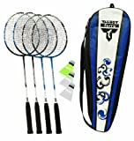 Talbot Torro 4-Attacker Set Set de badminton 4 raquettes, 3 volants, filet et poteaux bleu marine