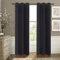 "aquazolax térmico aislado sólido cortinas opacas, tela, negro, 42""A x 63""L (106cm x 160cm), 2 Panels Set"