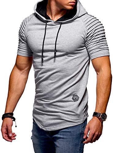 behype. Herren Kurzarm Biker T-Shirt Sweatshirt Hoodie mit Kapuze 20-0081 Hellgrau M Biker Hoodies