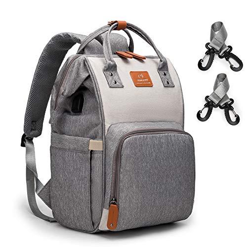 Baby Wickelrucksack Wickeltasche Multifunktional Rucksack Wickeltasche Groß Kapazität Babytasche mit USB-Lade Port Isolierte Taschen Kinderwagen-Clips Grau