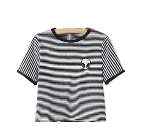 YouPue Damen Alien Druck Casual Cropped Pullover Crew Neck Sweatshirt Streifen# 2