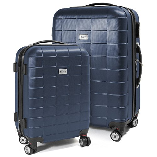 BERWIN Kofferset M + L 2-teilig Reisekoffer Trolley Hartschalenkoffer ABS Teleskopgriff Modell Squares (Dunkelblau)