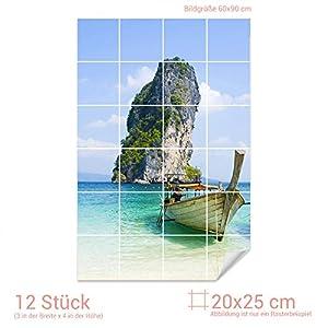 GRAZDesign Fliesenaufkleber Fliesenbild Wasserboot mit Meerblick Wand-Deko für Bad/Küchen-Fliesen (Fliesenmaß: 20x25cm (BxH)//Bild: 60x90cm (BxH))