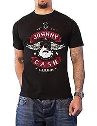 Johnny Cash T Shirt Winged Guitar man in Schwarz logo Nue offiziell Herren