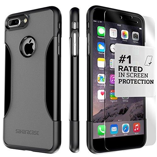 Funda iPhone 7 Plus, (Gris, Negro) Kit Funda Protectora SaharaCase con [Protector de Pantalla de Vidrio Templado ZeroDamage] Fuerte Protección Antideslizante [Cubierta Anti-golpes] Fino y Elegante