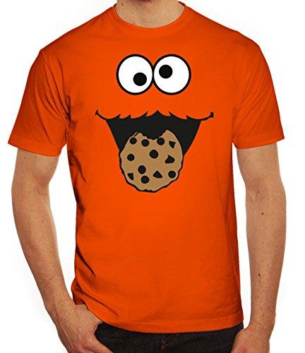 Karneval Fasching Verkleidung Herren T-Shirt Gruppen & Paar Kostüm Blaues Monster Premium, Größe: XXL,Orange (Nerd Paar Kostüm)