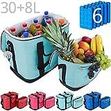 MABAMAHO Kühltaschen-Set Ibiza 30+8 Liter mit 6 Kühlakkus für Picknick, Grillen, Wandern, Ausflüge, Urlaub