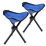 Zanasta Dreibein-Hocker [2 Stück] Camping Stuhl 28cm Sitzhöhe, Sitzhocker faltbar für Freizeit, Garten, beim Camping, Angeln und mehr, handliche 280g leicht, Blau