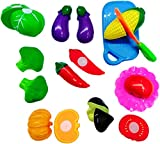 #2: Blossom Realistic Sliceable Fruits Or Vegetables Cutting Play Kitchen Set Toy (11 pcs set) with various Fruits Or Vegetables,Knife,Plate and Cutting Board for Kids,Random Set