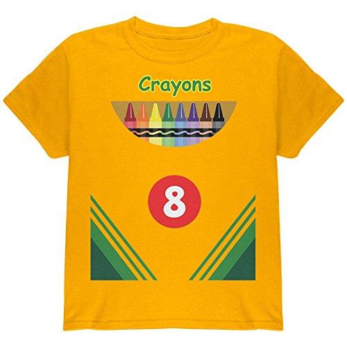 Halloween Crayon Box Kostüm Jugend T Shirt Gold YMD