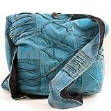 Vishes – alternative Bekleidung – Stonewash Yogitasche aus Baumwolle mit Stickereien (blau)