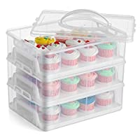 Gr8 Home 3 Tier Stackable Cupcake Carrier Box Muffin Cake Holder Plastic Clear Storage Container Basket Courier With Handle holds 36 Cakes