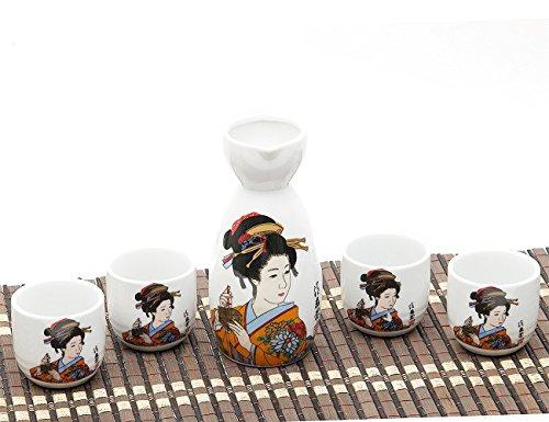 ankoow Juego de sake japonés con cuatro tazas pintado a mano clásico belleza patrón estilo Pottery tradicional cerámica Crafts-Copa de vino