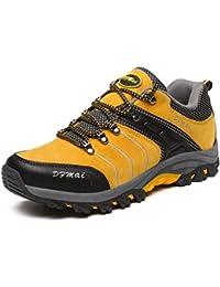 Dexuntong Zapatillas de Trekking Outdoor Walking Travel Zapatos Botas de montaña Zapatillas de senderismo Para Hombre Verde Amarillo Gris 39-44