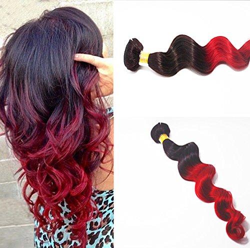 Romantic Angels Tissage Bresilien Loose Wave Extension Cheveux 16 Pouces/40cm 100g Naturel Noir to Rouge