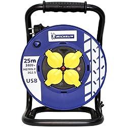 Enrouleur électrique PRO&GARAGE Michelin H07RN-F 3G2,5 mm² - Enrouleur manuel 25m - 3 prises encastrées 2P+T et 1 prise USB pour Smartphone ou autre - Corps en PP (polypropylène) et cadre en acier trempé - Protection surcharge thermiques