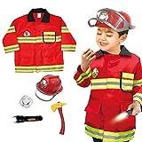Spezifikation:Name: Feuerwehranzug für KinderMaterial: Polyester + Nylon, KunststoffGewicht: ungefähr 800 GrammVerpackung: opp beutelPackliste:Feuerwehrmannjacke * 1Hut * 1Taschenlampe (zur Beleuchtung) * 1Abzeichen * 1Feueraxt * 1Hinweis:Batterie...