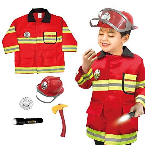 Hearthrousy Feuerwehr Kostüm Kinder Feuerwehrmann Anzug Feuerwehr Uniform Feuerwehrmann Anzug Kostüm-Set Rollenspiel Requisiten Feuerwehrmann Kostüm Spielzeug für Fasching Karneval