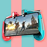 elegantstunning Mobile Gamepad Game Controller Trigger Aim Button L1R1 Shooter Joystick for PUBG Red and Blue