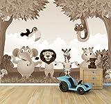 Vlies Fototapete - Kindertapete - Dschungeltiere Cartoon - sephia - sepia - 360x270 cm - inklusive Kleister - Tapetenkleister – Bild auf Tapete – Bildtapete – Foto auf Tapeten – Wand – Wandtapete – Vliestapete – Wanddeko - Design