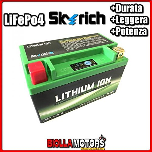 HJTX14H-FP BATTERIA LITIO SKYRICH YTX14-BS LiFePo4 612276 YTX14BS MOTO SCOOTER QUAD CROSS