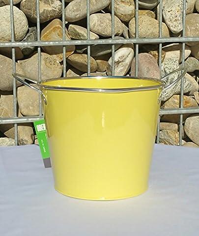 Blumentopf gelb Pflanztopf Übertopf Metall mit 2 Griffen