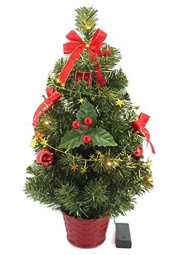 Krystal 50 cm komplett geschmückt dekoriert Künstlicher Weihnachtsbaum mit 10 LED und roter Deko, batteriebetrieben, warmweiß